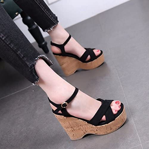 GTVERNH Womens shoes//Summer//12Cm Super High Heels Buckles Slope Heels Sandals Female Thick Bottomed Waterproof Platforms Wild Suede Toes.