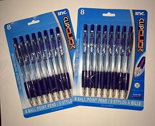 Blue Ink Ballpoint Pens by Clip Click - 2 Pack Set - 1.0 mm