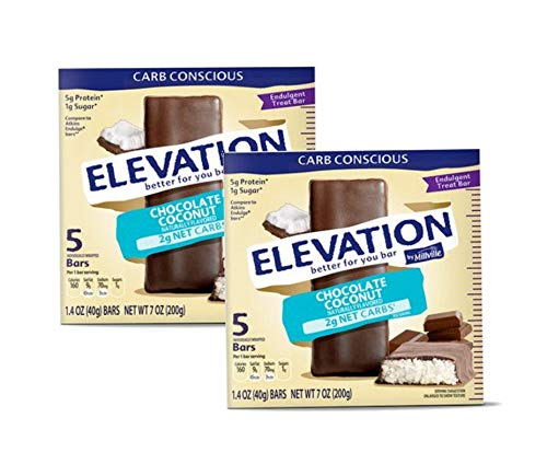 Millville Elevation Advanced Carb Conscious Better for You Chocolate Coconut Endulgent Bars – 2 Boxes