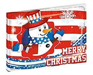 Large American Chocolate Advent Calendar | Patriotic Christmas Chocolate for Advent | 75g of Chocolate for 24 Days of December