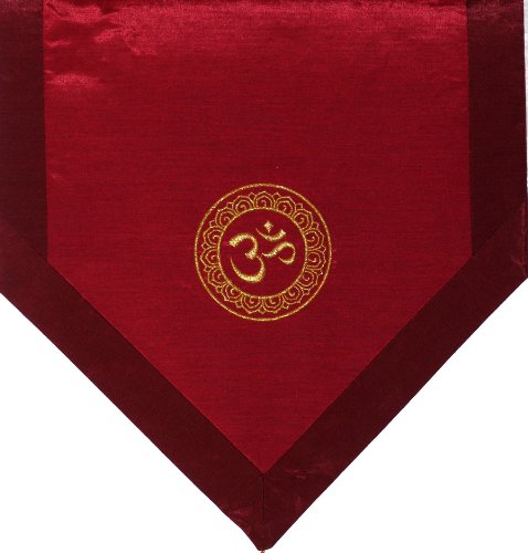 (Boon Decor Altar Cloth Or Wall Hangings - Embroidered - Om in Lotus Wheel: Iridescent Red)