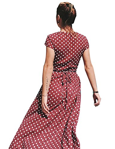 Colorful Women Polkda Dress House Beach Red Chiffon Split Maxi Dot V Neck Long 65r6wqE