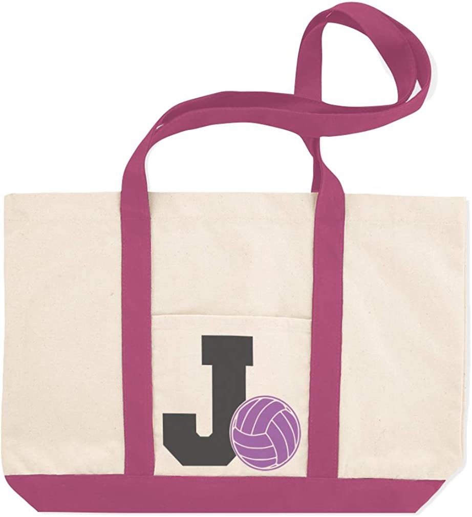 Canvas Shopping Tote Bag Alphabet J Volleyball Sports Volleyball Beach Bags for Women