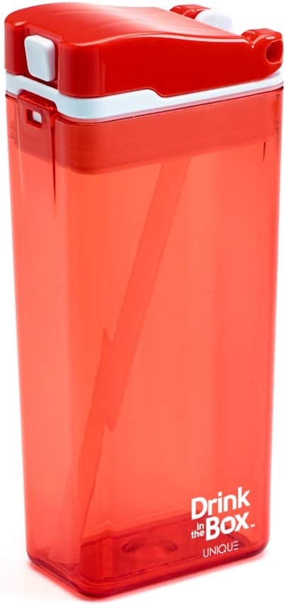 Precidio Design Drink in the Box Eco-Friendly Reusable Drink and Juice Box Container, 12 ounce (Orange)