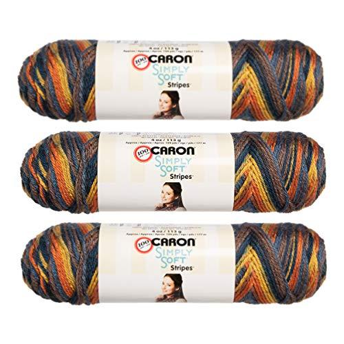 Caron (3 Pack Simply Soft Stripes 100% Acrylic Soft Martha's Vineyard Yellow Blue Brown Orange Yarn for Knitting Crocheting Medium #4