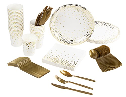 Disposable Dinnerware Set - Serves 24 - Party Supplies, Gold Foil Polka Dot Design, Includes Plastic Knives, Spoons, Forks, Paper Plates, Napkins, Cups