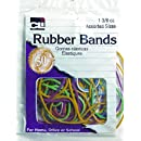 Charles Leonard Inc., Rubber Bands, 1 3/8 Ounce Bags, Assorted Sizes/Colors (56385)