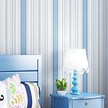 Vliestapete schlafzimmer blau  Non-Woven blaue vertikalen Streifen Tapete Schlafzimmer Wohnzimmer ...