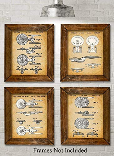 Star Trek Original USS Enterprise Patent Prints - Set of Four Photos (8x10) Unframed - Makes a Great Gift Under $20 for Trekkies ()