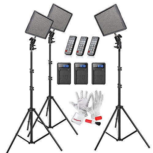 Aputure Amaran HR672KIT HR672W 3 CRI95+ LED Video Studio Lighting Kit - Wide Angle Flood Light with 2.4G Wireless Remote Control and 6.5ft Light Stand (Floodlight Three Kit)