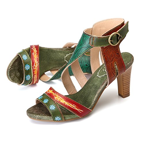 832339ba 70% OFF gracosy Sandalias de Cuero para Mujer Zapatos de Tacón Grueso  Verano Correa de Tobillo Peep Toe Vestido Hecho a Mano Bombas Mujeres ...