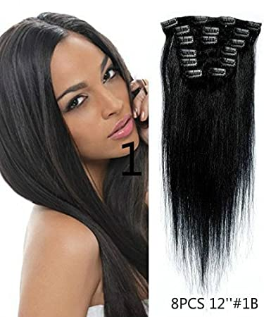 Amazon uotp hairstraight remy human hair clip in hair uotp hairstraight remy human hair clip in hair extension 12 inches 8pcsset pmusecretfo Image collections