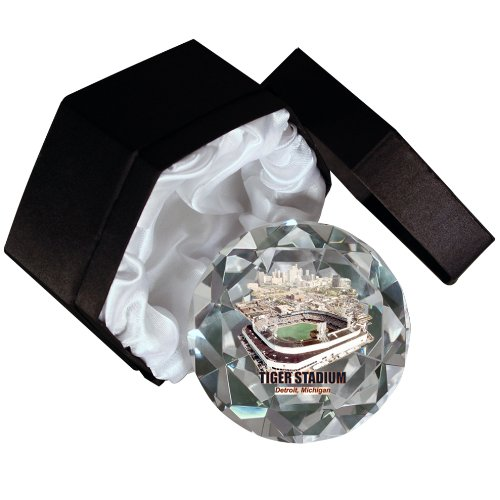 Sports Collector's Guild MLB Detroit Tigers, Old Tiger Stadium 4-Inch High Brillance Diamond Cut Crystal Paperweight