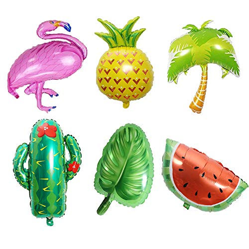 Beach Summer Tropical Party Theme Flamingo Pineapple Palm Tree Watermelon Cactus Palm Leaves Mylar Balloons for Luau Party Decor Hawaiian Decorations Party Supplies(Set of -