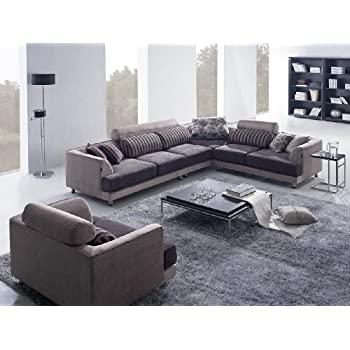 Tosh Furniture Modern Beige Fabric Sectional Sofa   Chair. Amazon com  Tosh Furniture Modern Beige Fabric Sectional Sofa