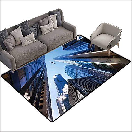 Floor Bath Rug Urban Looking Up at Chicagos Skyscrapers in Financial District American City Picture Personality W5' x L7'10 Blue Silver