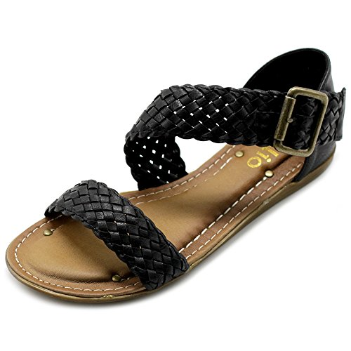 Ollio Women's Shoe Braided Side Buckle Accent Multi Color Flat Sandal M1966(11 B(M) US, Black) (Sandal Side Buckle)