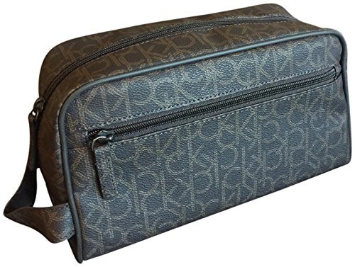 Logo Soft Leather - Calvin Klein Logo Soft Leather Cosmetic Toiletry Bag Case Large Brown