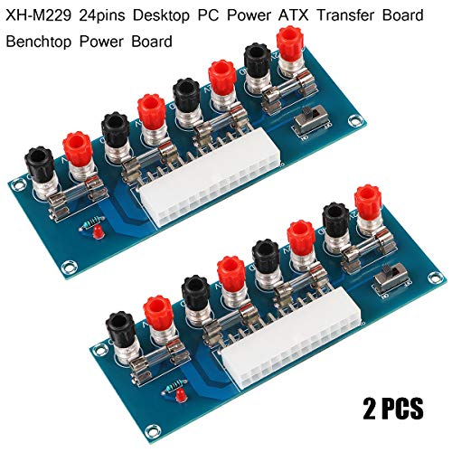 (MakerHawk 2pcs 24Pins ATX Benchtop Power Adapter Board Computer ATX Power Supply Breakout Adapter Module 12V 5V 3.3V )