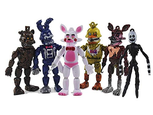 PAPCOOL Set 6 FNAF Action Figures 3.75 inch Hot Toys Foxy Bonnie Freddy Bear Mini Small Cute PVC Figure Sister Location Toy Christmas Halloween Collectable Gift Gifts Collectible Collectibles for -