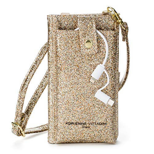 Adrienne Vittadini Glittering Charging Wallet Phone Crossbody, Gold