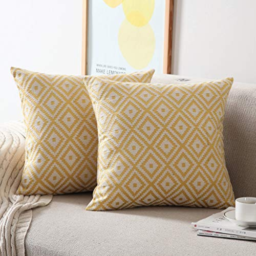 NordECO HOME 18 X 18 Decorative Throw Pillow Covers, Set of 2 Euro Farmhouse Cushion Covers Cases for Couch Bed Sofa, Diamond Yellow