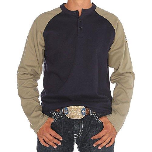 Rasco FR Mens Rasco Khaki/Navy Henley Flame Resistant T Shirt XL Mulitcolor
