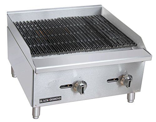 Empura BDECTC-24/NG Stainless Steel Black Diamond Radiant 24'' Countertop Charbroiler Natural Gas with 2 Manual Burner Controls by Empura