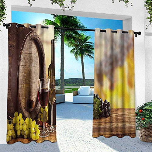 Wine, for Patio Light Block Heat Out Water Proof Drape,Red and White Wine Bottle Glass on Wooden Keg Quality Taste Traditional, W120 x L108 Inch, Brown Pale Green Yellow