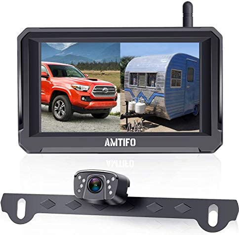 "AMTIFO HD 1080P Digital Wireless Backup Camera with 5"" Monitor for Trucks,Cars,Campers,Vans, Observation System with Stable Signal,IP69 Waterproof,Super Night Vision,Guide Lines On/Off – A6"