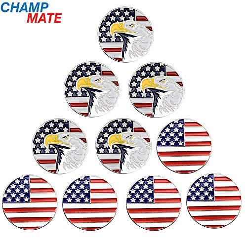 (Champmate Golf Ball Marker, USA Golf Collection Series Assorted Design, 10 PCS)