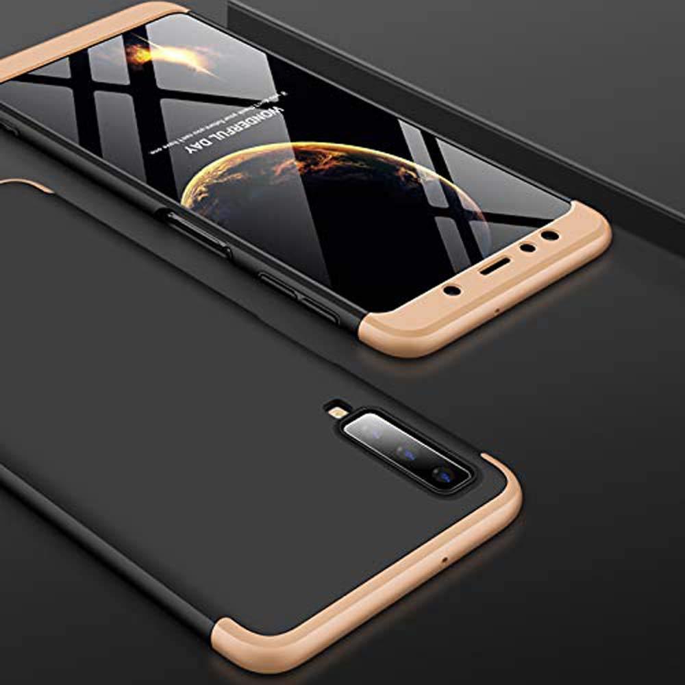 Oro Rosa Funda Cover para Samsung Galaxy A7 2018 Carcasa-360/°Caja Completa Protectora Shell 3 en 1 PC Hard Cover Ultra Delgado Desmontable Case