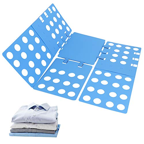 Phoenixee Shirt Folding Board, Easy and Fast Shirt Folder, Durable Plastic Clothes Folding Board, Adjustable T Shirt Folder, Top Flip Clothes Folder for Adult Dress, Pajamas, Pants and Sweater (Blue)