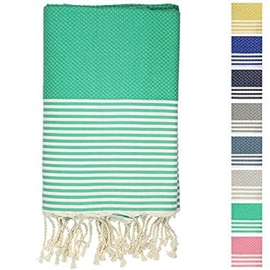 Fouta Peshtemal Pestemal Turkish Towel, Bath & Beach Towels, 39  x 70 , Light Green
