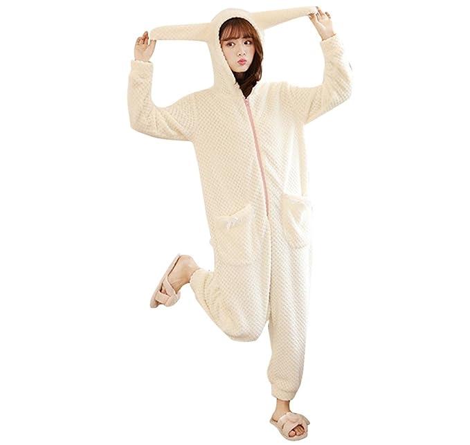 WanYang Mujeres De Moda Pijamas De Color Sólido Warm Jumpsuit Pijamas De Manga Larga Con Capucha Para Mujer: Amazon.es: Ropa y accesorios