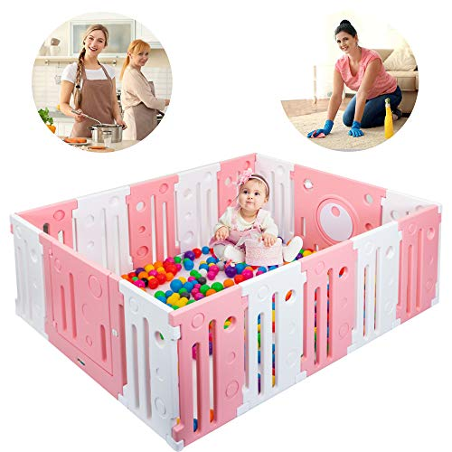 JOYMOR Visibility Design 16 Panels Baby Girl Playpen BPA-Free Safety Anti-Skid Playards Kids Activity Center with Locked Door Indoor Outdoor Pink-White Fence