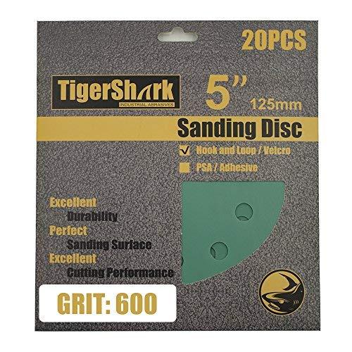 TigerShark 5 Inch Sanding Discs 8 Hole Wet Dry Grit 600 20pcs Pack Special Anti Clog Coating Film Green Line Hook and Loop Dustless Random Orbital Sander Paper