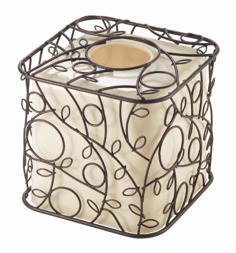 InterDesign Twigz Bath, Facial Tissue Box Cover/Holder for Bathroom Vanity Countertops - Vanilla/Bronze