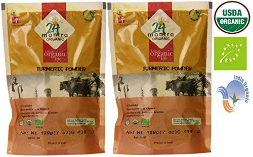 Organic Turmeric Powder - Curcumin Powder -  USDA Certified Organic -  European Union Certified Organic -  Pesticides Free -  Adulteration Free -  Sodium Free -  High in Antioxidants - Pack of 2 X 7 Ounces (14 Ounces) - 24 Mantra Organic