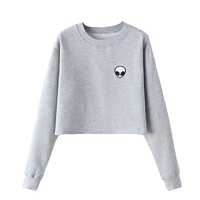 Women's Cute Alien Long Sleeve Pullover Sweatshirt Shirt Blouses Crop Tops