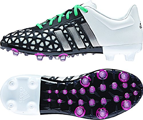 adidas ACE 15.1 FG/AG Junior Soccer Cleats (Black, White) Sz. 4