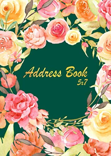 Address Book 5x7: Address Book Medium Size  : A-Z Alphabet Index : Address, Phone(Home, Mobile, Work) Email, Social media, Notes : Address Book With Birthdays, Anniversaries and Password Section