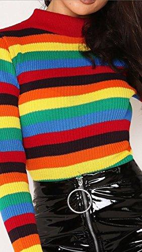 Donna Maglione Maglione Fashion Fashion Zee Rainbow Donna Zee nfROq