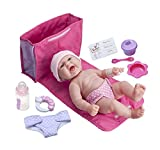 """JC Toys LA NEWBORN 10 Piece Deluxe DIAPER BAG GIFT SET, featuring a 13"""" Realistic All Vinyl Smiling Baby Newborn Doll – Perfect for Children 2+"""