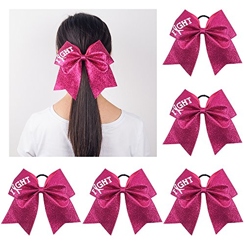 Ncmama Fight Breast Cancer Awareness Cheer Bow Glitter Hair Tie Ponytail Holder for Baby Girls Set of (Over The Top Halloween Hair Bows)