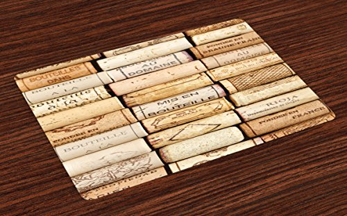 Lunarable Winery Place Mats Set of 4, Different Wine Corks Arranged in a Line Collections French Aged Fine Wine Art, Washable Fabric Placemats for Dining Room Kitchen Table Decor, Ivory Pale Brown