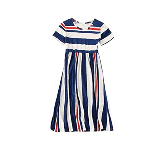 5340c572b Hatoys Mom&Me Striped Family Dress Clothes, Family Matching Clothes (Girls-3T,  Navy
