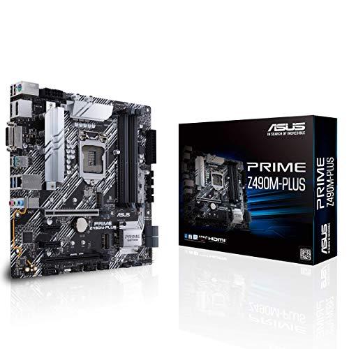 ASUS Prime Z490M-PLUS - Placa Base mATX Intel de 10a Gen LGA 1200 con VRM de 9 Fases DrMOS, Cabezal RGB, LAN IC- Intel I129-V, USB 3.2 Gen 2, USB 3.2 Gen 1, Dual M.2, Fan Xpert 4, Armoury Crate