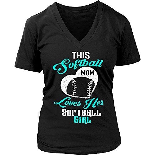 (This Softball Mom Loves Her Softball Girl V-Neck T-Shirt for Women)