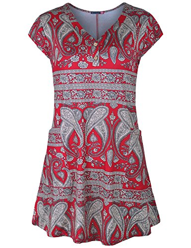 Le Vonfort Tunic for Women, Cap Sleeve Pockets Casual Tee Shirts Tunic Tops Paisley Red XX-Large ()